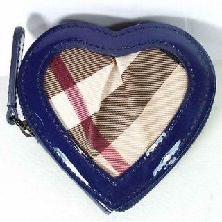 Burberry Blue Nova Check Heart Coin Purse Bag Holder Mini Wallet