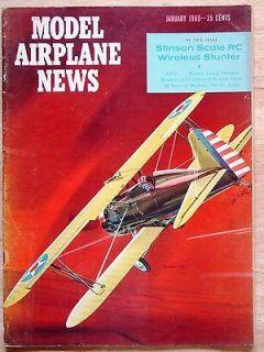 Jan 1960 MODEL AIRPLANE NEWS RC Magazine Stinson 5; Bamboozle; Gyro