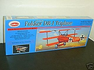 Guillows #204 Fokker Triplane Balsa wood Airplane model Kit New in box