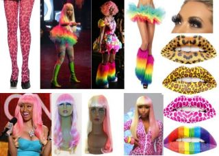 DELUXE NICKI MINAJ FANCY DRESS COSTUME KITS WIG + ACCESSORIES