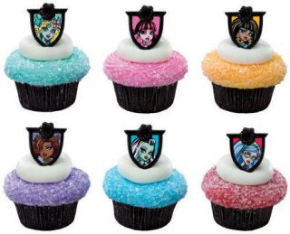 Monster High Cupcake Rings Toppers 6ct Cake Decorations Clawdeen