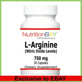 Arginine, Amino Acid, Nitric Oxide Levels, 750 mg, 30 Capsules