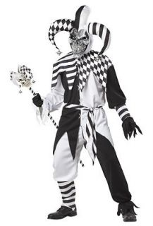 Evil Jester Clown Scary Nobodys Fool Adult Costume SizeX Large