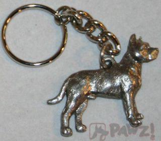 PIT BULL Terrier Pitbull Dog Fine Pewter Keychain Key Chain Ring Fob *
