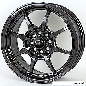 rota circuit 8 15x6 5 4x100 et38 gun metal wheel rims