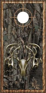 Oak camouflage wood tribal deer buck head hunting cornhole board wrap