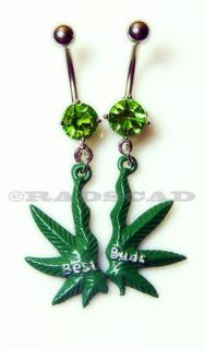 FRIENDS POT MARIJUANA LEAF NAVEL RING BELLY BAR WEED SET PAIR DANGLE