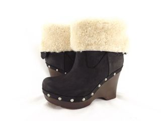 Womens Boot Ugg Australia Carnagie Nubuck Wooden Wedges Black *New*