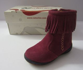 Naturino Infant Girls NAT Pink Suede Fringed Ankle Boots UK4 Only