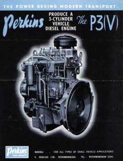 Perkins P3 V 3 Cylinder Vehicle Diesel Engine Original Sales Brochure