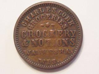 Waukesha, WI WIS WISC Wisconsin Cork crockery, notions CWT CIVIL WAR