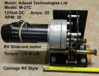 12/VOLT RV SLIDE OUT MOTOR 25 AMPS 50 RPM Adacel Technologies Ltd