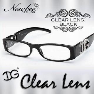 Small Frame Clear Lens Glasses Womens Designer Looks in Black