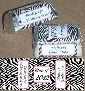 30 ZEBRA PRINT CLASS OF 2012 GRADUATION PARTY CANDY WRAPPERS