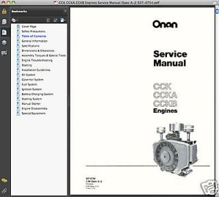 Onan CCK CCKB ENGINE & Genset SERVICE MANUAL Operators & Parts IPC  19