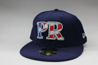 Puerto Rico Navy Blue Scarlet White Blue Grey New Era Fitted Cap Size