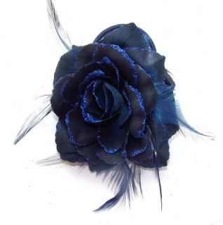 NEW NAVY MIDNIGHT BLUE ROSE FEATHER WRIST HAIR CORSAGE