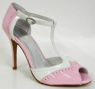 Brand New Unique Pink White Patent Oxford Open Toe High Heel Women