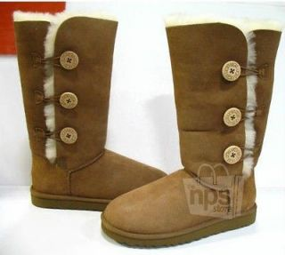 UGG Australia Bailey Button Triplet Womens Size 8 Chestnut Tall Boots