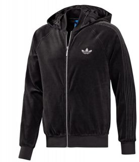 NEW Mens Adidas Originals VELOUR Black Hoodie Sweater Zip Up Top Track
