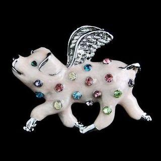 When Pigs Fly Piggy Brooch Pin Multi Rhinestone Crystal Enamel Pink