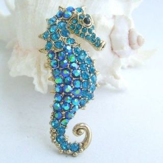 Lovely Sea Horse Brooch Pin w Blue Rhinestone Crystals EE02254C15