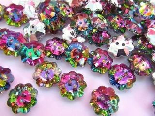 20 Multi Color Jewel Rhinestone 14mm Sewing Button/2 hole/sewing/trim