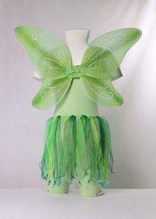 Tinkerbell fairy girls costume Green Skirt, Wings, Scrunchie Very