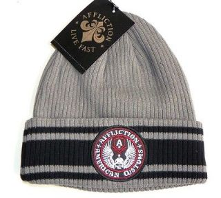 AFFLICTION LIVE FAST AMERICAN CUSTOMS BEANIE   GRAY / BLACK