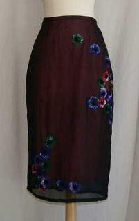 tracy reese 100 % silk black sequins skirt 10 medium m