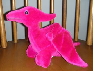 Purple Maroon Vintage Dinosaur Pterodactyl plush 1987 animal toys