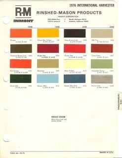 1976 international harvester paint chips sheet r m time left
