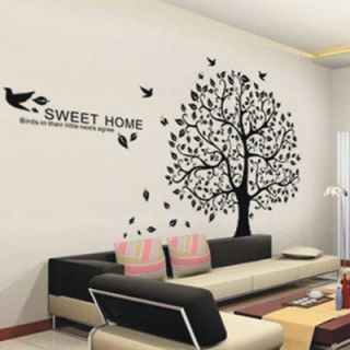 SWEET HOME Larger Tree Branch Bird Home Art Mural Decor Wall Stickers