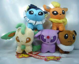 5X Nintendo Pokemon Eevee Espeon Vaporeon Flareon Leafeon Plush Toy