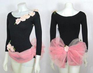 vintage 1950s pink tulle roses black leotard costume xs