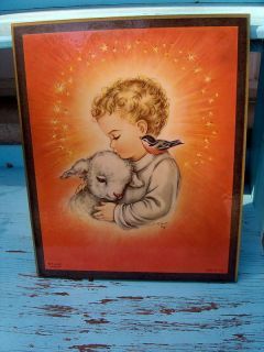 vtg 1958 charlot byi byj litho plaque print jesus lamb