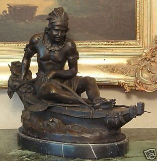 American Artwork Male Indian Canoe Bronze Marble Statue Sculpture