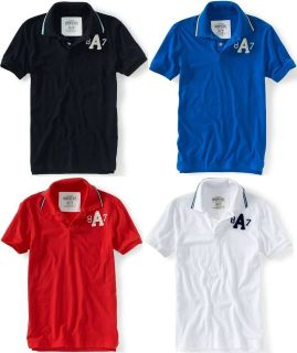 AEROPOSTALE MENS POLO SHIRT TOP T SHIRT STRIPED COLLAR A87 LOGO NWT