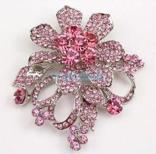 pink austrian rhinestone crystal floral bridal wedding brooch pin time