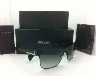 New PRADA Sunglasses SPR 51O FAD 3M1 58 17 Matte Black / Black w/ Grey