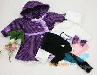 4PC Purple Coat Doll Clothes outfit for 18 american girl new