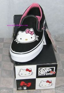 VANS Hello Kitty SLIP ON SNEAKERS BLACK US 6 CHRISTMAS GIFT FREE