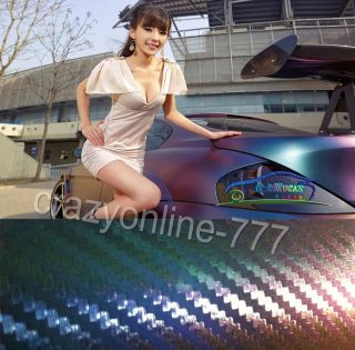 12 X 60 3D Car Chameleon Carbon Fiber Vinyl Sticker Green to Purple