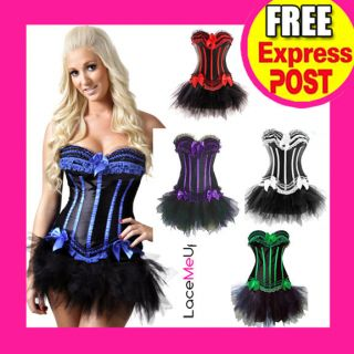 Costume Blue Green Purple Red White Strip Corset Black Petticoat TuTu