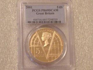 2001 ROYAL MINT VICTORIA £5 FIVE POUND GOLD PROOF COIN PCGS PR69 DCAM