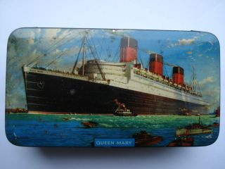 c1950s vintage r m s queen mary souvenir sweets tin