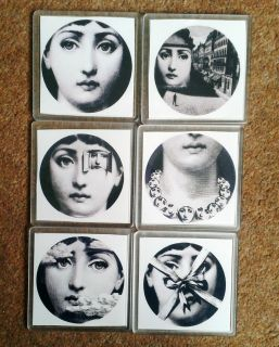 fornasetti style set of 6 high quality coaster time left