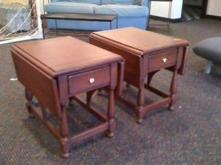 Ethan Allen SUGAR BUSH RED Drop Leaf End Tables   2 Rare