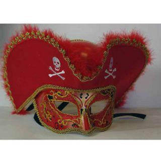 Red Pirate Hat Venetian Mask Gold Halloween Masks Masquerade Mardi