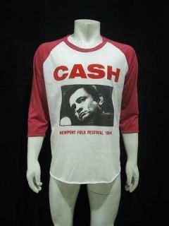 Vintage Re Printed Johnny Cash Folk Tour 1964 Raglan T Shirt Mens XL